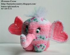 Adorable Amig Crochet Pink Elephant w/heart shaped Ears!! ~i really love these Russian patterns& ideas!ck~