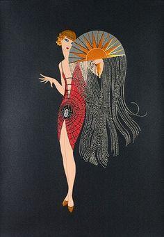 1920 lady with sun art deco art nouveau Art Deco Illustration, Arte Fashion, Art Deco Fashion, Fashion 1920s, Fashion Fashion, Victorian Fashion, French Fashion, Ladies Fashion, Vintage Fashion