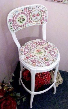 Cute Shabby Mosaic Metal Chair by hillspeak, via Flickr