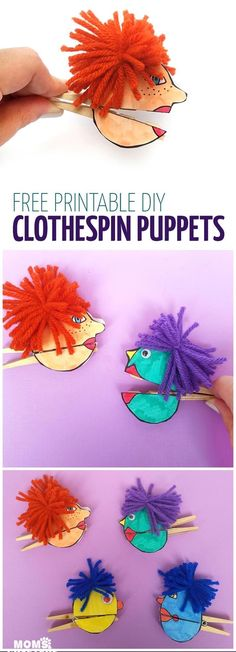 I love these adorable quirky paper puppets - with mouthes that open and close with a clothespin! Love this unique, easy clothespin craft for kids (or adults). It includes a free printable for the faces, which you can then color in, and add yarn and googly #artsandcraftsforkidswithpaper,
