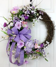 Spring Lavender Grapevine Wreath Spring by WruffleWreathsbyLanaLavender Grapevine Wreath, Housewarming Grapevine Wreath, Grapevine Wreath, Every Day Grapevine Nice Su mmer Wreath Ideas For Front Door - Page 2 of most of us think of fron Wreath Crafts, Diy Wreath, Grapevine Wreath, Wreath Ideas, Easter Wreaths, Christmas Wreaths, Corona Floral, Mothers Day Wreath, Wedding Wreaths