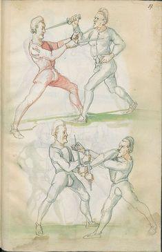 Ce manuscrit illustré du 16eme siècle, hébergé à la Bibliothèque d'Etat de Berlin, était surement destiné à apprendre aux combattants les bases du combat avec différentes épées. Je ne pensais pas qu'on était censé tenir l'épée « à l'envers » si souvent …