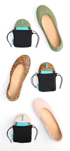 Travel in Tieks - the unique split-sole design allows the shoe to easily fold and fit into a purse or suitcase with room for multiple pairs!