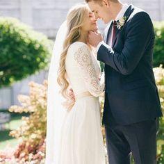 long sleeve modest wedding dress with chiffon skirt from alta moda