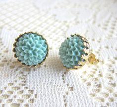 Pale Blue Earrings Stud Light Blue Earrings Baby by Jewelsalem, $8.00