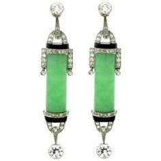 Art Deco Diamond, Jade and Onyx Earrings, circa 1925.