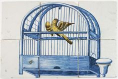 Antique Dutch Delft tile mural depicting a bird cage in blue with a canary, 18th century