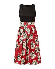 Closet Red Floral Print Contrast Tie Back Midi Dress  | New Look