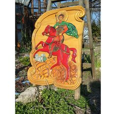 Color Woodcarving Icon of saint Demetrios Linden Wood by WoodAlive