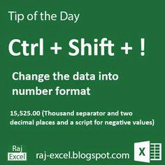 Raj Excel: Microsoft Excel Short Cut Keys: Ctrl + Shift + ! (Exclamation mark)