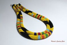 African Necklace, Yellow Necklace, Bead Crochet Necklace, Rope Necklace, Tribal Necklace, Ethnic Style Necklace, Beadwork Jewelry