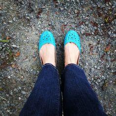 blue patent leather flats - shoes
