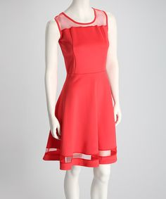 Take a look at this Coral Scuba Mesh Sleeveless Dress by P•Luca for Barami on #zulily today!