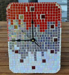 Mosaic Wall Clock Rectangular Handmade Glass Tiles by gcbmosaics