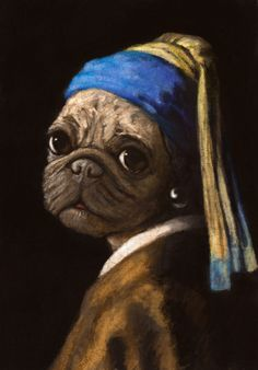 Stephanie Matos Illustrations...pug wit a pearl earring