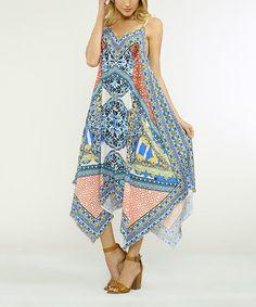 This Blue & White Geometric Handkerchief Dress is perfect! #zulilyfinds