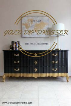 Long French provincial dressers are pretty common, and they are so popular in our area. We love to try different designs with these as we refinish and refurbish them. This is our first gold dip dresser, and it is stunning! See how we did it at www.thesociablehome.com.