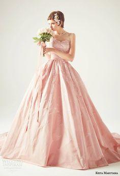Keita Maruyama japan 2014 #bridal: strapless pink ball gown #wedding dress #weddinggown #weddingdress