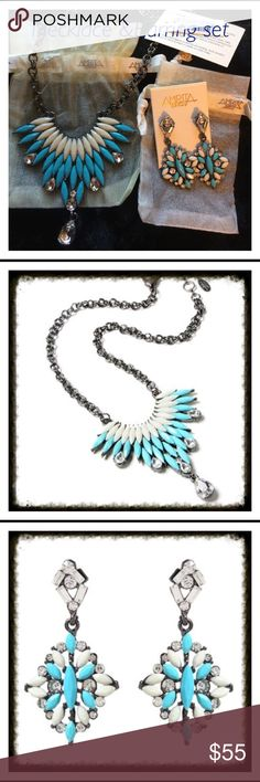 "Amrita Singh 🎉HP🎉Drop earrings& Joan Bib set. ✨Host Pick✨9/23✨💖✨Turquoise & Ivory Crystal Lavani Drop Earrings 1""W x 2""L Earrings Gunmetal-tone-plated/ Austrian crystal/ resin...   ALSO Turquoise & Ivory Austrian Crystal Joan Bib Necklace 16.5"" with 2"" extender 3"" drop silvertone plated brass/ Austrian Crystal/ resin. Amrita Singh Jewelry"