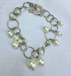 Like the idea, but with real silver, gold, and pearls . . . Bridal Jewelry Pearl Bracelet Ivory Pearl by JaimeLeesJewelz, $15.00