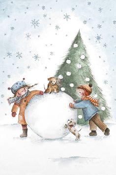 зима, дети, новый год, акварель
