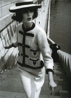 Black and white vintage Dorothy McGowan in Chanel Haute Couture via http://pinterest.com/kmariekelly/vintage-50s/