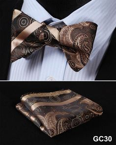 GC30 BROWN Floral 100% Silk Butterfly Tie Self Tie Bow Tie Pocket Square Bow tie Set
