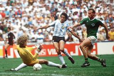 The deciding goal in the 1986 World Cup Final.  Argentina striker Jorge Burruchaga was played through on goal.  To the dismay of West Germany, Hans-Peter Briegel did not get back in time and Harald Schumacher was powerless to stop it.  The final score was 3-2 to Argentina.