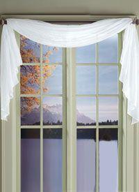short white sheer window scarf