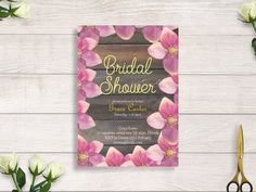 rustic woodland bridal shower invitation, rustic floral bridal shower invitation, autumn bridal shower #BBS218 by BRIDETALKpaperie on Etsy
