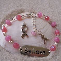 Silver Believe Connector Charm Bracelet with Pink by mompotter
