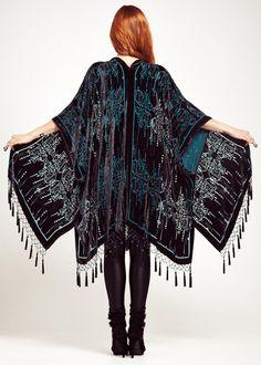 M A T R I X - C L A S S I C    Bewitch yourself in this dark and dreamy burnout velvet kimono.  Featuring rich dusky black velvet with intricate art