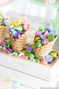 Hershey kisses in ice cream cones for an ice cream birthday party! How cute is this!? #ad #LetsBirthday /hersheycompany/