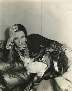 VINTAGE BOHO: 1934 Mexican actress Lupe Velez with her chihuahuas.