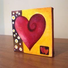 Original Painting, MODERN ART HEART, 5x5 Oil on Canvas, Home Decor, Romantic Art. $38.00, via Etsy.