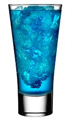 The Polar Bear is a chilly blue drink made from Rose's blue curacao cordial, vodka and Sprite or 7-Up, and served over ice in a highball glass.