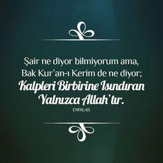 Şair ne diyor bilmiyorum ama, Bak Kur'an-ı Kerim de ne diyor; Kalpleri Birbirine Isındıran Yalnızca Allah'tır. #enfal63 #iyigeceler #goodnight #kuran #kerim #quran