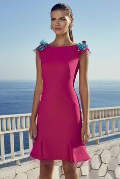 Carla Ruiz 95717 Rose Pink Dress with shoulder detail Fabulous Dresses, Beautiful Gowns, Simple Dresses, Short Dresses, Moda Floral, Dress Stand, Groom Outfit, Different Dresses, Ladies Dress Design