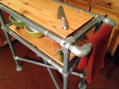 Kücheninsel, Industrial, Reclaimed Holz, Warenkorb, verzinktem Rohr, steam Punk, Möbel