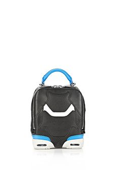 It has sneaker heels on the bottom! ALEXANDER WANG SMALL SNEAKER BAG IN BLACK AND AIRFORCE WITH RHODIUM