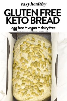 KETO Gluten free Vegan bread recipe Easy, Yeast free with only grams net carbs per slices. A delicious dense bread with wholegrain flavor. Keto Vegan, Vegan Keto Recipes, Vegan Bread, Easy Bread Recipes, Waffle Recipes, Healthy Dessert Recipes, Vegan Snacks, Healthy Baking, Vegan Gluten Free