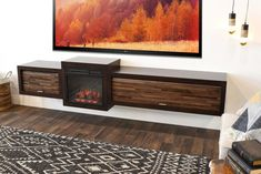 Floating Fireplace Wall Mount TV Stand - ECO GEO Espresso - Woodwaves Fireplace Console, Floating Fireplace, Fireplace Wall, Fireplace Design, Wall Mount Tv Stand, Floating Tv Stand, Electric Fireplace Tv Stand, Space Tv, Metal Screen