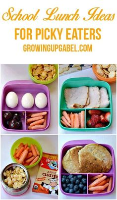 School Lunch Ideas for Picky Eaters Tired of trying to figure out what to pack your picky eater for lunch? Check out these 4 tips for packing a school lunch that will make your picky eater cheer! Cold Lunches, Toddler Lunches, Lunch Snacks, Lunch Recipes, Baby Food Recipes, Healthy Recipes, Toddler Food, Detox Recipes, Kids Lunch For School