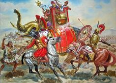 Battle of the Plains of Bagradas, also called Battle of Tunisia, spring of 255 BC, First Punic War, ended up in a decisive Carthaginian victory - art by Giuseppe Rava