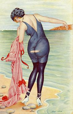 Naughty On The Beach Postcard - 1919 - by Xavier Sager (French, 1870-1930) - a very different ideal female body than the current one......