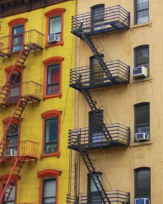 Red and Black fire escapes, NYC Copyright: Lakshmi Partha