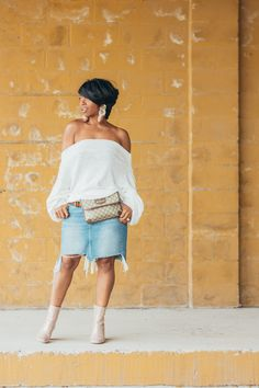 Sweenee Style, Denim skirt, Off the shoulder top, Asos boots, Indianapolis fashion blog, Indianapolis blogger, Fall Look, Outfit Ideas