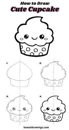 How to draw a cute cupcake, easy drawing tutorial, step-by-step, kawaii cupcake – Doodles Cute Easy Drawings, Cute Kawaii Drawings, Art Drawings For Kids, Doodle Drawings, Drawing For Kids, Cartoon Drawings, Doodle Art, Pen Drawings, Easy Drawing Tutorial
