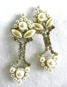 RESERVED for VIV--Special Wedding - signed - beautiful earrings 1960, white,crystals and pearls for the bride elegant--Art.317/2-