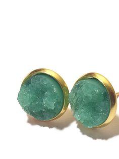 earrings, jewelry, studs, druzy